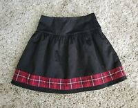 GYMBOREE GIRLS BLACK SATIN SKIRT SZ 6 RED PLAID TRIM LINED HOLIDAY CHRISTMAS