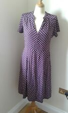 EAST Size 12 Tea Dress Purple Polka Dot Cap Sleeve
