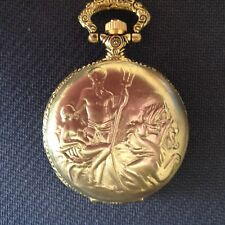 POCKET WATCH NO. 41 GOLD COLOURED HUNTER,POSEIDON GOD OF THE SEA.