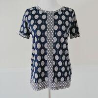 J CREW T Shirt Blouse Womens Size XS Short Sleeve Cotton Top Navy Blue Paisley