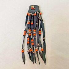 Black Leather Ponytail Holder with Beads and Fringe