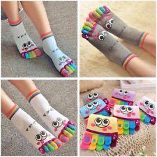 f586066db Women Girls Cute Casual Sports Cotton Cartoon Smile Five Finger Toe Socks