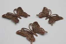 3 pce Metal Red Copper Filigree Butterfly Pendant / Charm 36mm x 26mm