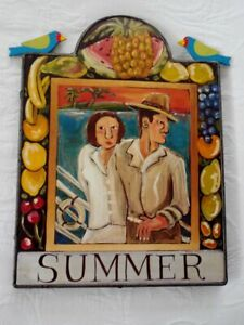 NANCY THOMAS Whimsical Folk Art Wall Plaque - Summer - 9 X 10 - 1994
