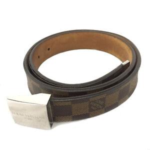 Louis Vuitton Damier Ceinture Brown Leather 80cm Mens Belt /C1216
