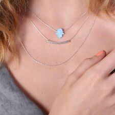 Layering necklaces set HAMSA Necklace Bar Necklace Layered Opal Necklace