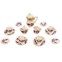 15pcs Dollhouse Miniature Dining Ware Porcelain Tea Set Dish Cup Plate (pet M1X2