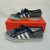 Used Adidas Nizza Trainers. UK Size 5. Womens. Blue Denim Type. 3 Stripe.