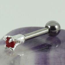 Cartilage Bar Upper Ear Tragus Lobe Piercing Silver 2mm Siam Crystal 1.2 x 6mm