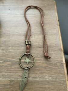 New Long Boho Tan Bronze Star Feather Necklace