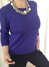 SPORTSCRAFT WOMENS BLOUSE KNIT WOOL 3/4 Sleeves Purple  SZ L