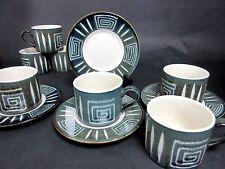 11 Piece Mikasa Potter's Craft Firesong HP300 7 Cups & 4 Saucers Blue Green