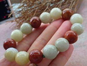Certified Red Natural A JADE Jadeite Beads Flower Bangle Bracelet 花手链 669933