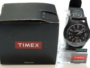 NEW* Timex Expedition TW 4B01900 Indiglo leather band Black