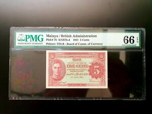 Malaya 1941 5 Cents KNB7d 66 EPQ