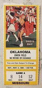 Oklahoma Sooners Missouri Tigers Football Ticket Stub 11/3 1984 OU Win 49-7 Carr