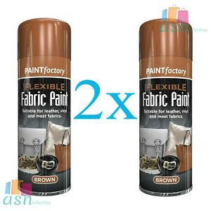 New 2x Brown Flexible Fabric Spray Paint Leather Vinyl Clothes Fabric 200ml