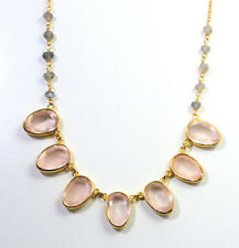 "Rose Quartz, Labradorite Gemstone Solid925 Silver gold Plated Necklace 18""MN1666"