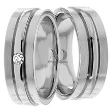 His & Her Diamond Wedding Band Set 10K White Gold 8mm Wide Matching Rings Sz10