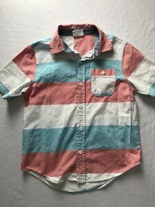 Crazy 8 Boys Button Down Short Sleeved Red/blue/white Shirt Sz S 5-6