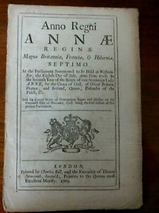 Original Act of Parliament - Queen Anne 1709 - Laws Concerning Comm. of Sewers
