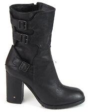 Fornarina Alek Court Bottes 41 cuir bottines boots pifek Talons Hauts Noir NEUF