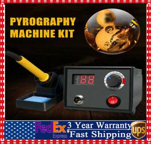 Pro Multifunction Craft Wood Burning Pen Tool Pyrography Machine Kit Burner 110V