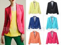 7 Colours Ladies Women Suit Blazer Jacket Coat Foldable Sleeves Neon Candy WS001