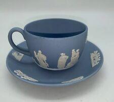 �Vintage Blue Wedgewood Tea Cup & Saucer Set-Jasperware-
