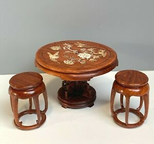 DOLLHOUSE MINIATURE ORIENTAL FURNITURE MOTHER OF PEARL INLAID WOODEN TABLE SET