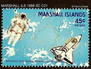 MARSHALL ILS 1988 SC C21 SPACE SHUTTLE OVER RONGELAP WITH ASTRONAUT MNH OG VF