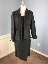 Anne Klein M 8 Black Linen Dress Suit Career Cocktail Excellent