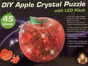BRAND NEW SODIAL  3D Apple Crystal Jigsaw Puzzle Flashing LED Lights Batteries