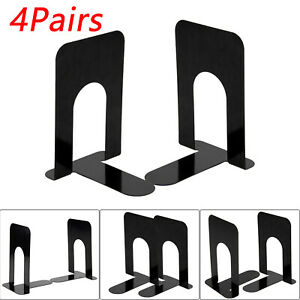 4 Pairs Metal Bookend Book Stops Supports Book-End Set Shelves Office Stationery