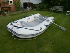 Inflatable Dinghy Boat Quicksilver with Oars, Bag and Pump White/Grey