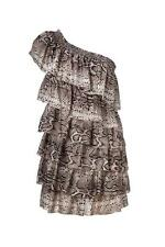 $299 NWT COUNTRY ROAD SILK DRESS XS ONE SHOULDER BOHO PYTHON PRINT ruffle layer