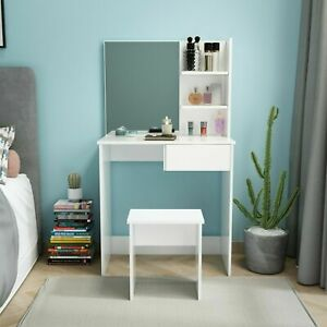 Modern White Dressing Table Makeup Vanity Desk Bedroom w/ Drawer&Mirror&Stool