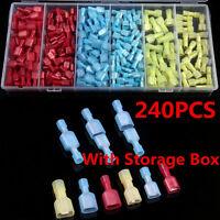 240Pcs Assortment Nylon Electrical Crimp Wire Connectors Terminals Spade Set Kit