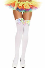 Opaque Thigh High Stockings Rainbow Multi Color Satin Bow Neon Colors OTK Socks