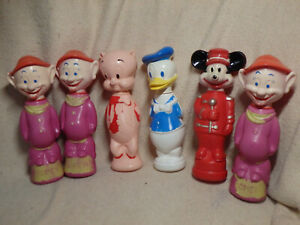 Lot of 6 Walt Disney Soaky Bottles - Dopey, Porky Pig, Mickey Mouse, Donald Duck