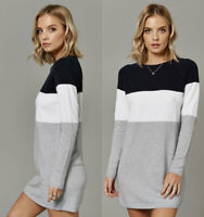 Womens Colour Block Stripe Navy Ivory Grey Knitted Tunic Jumper Dress