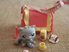 "Littlest Pet Shop ""Colors of the Rainbow"" Pink Gray Persian Cat 82 Accessory N33"