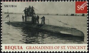 WWI German Navy SM UB-14 U-Boat Type UB-I Submarine Warship Stamp (2018 Bequia)