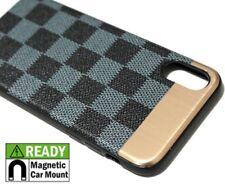 For iPhone X Hard Hybrid Magnetic Back Plate Skin Case Cover Blue Black Checker
