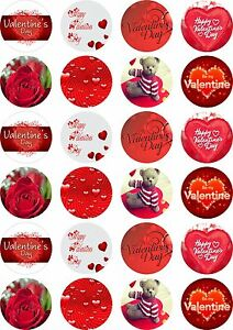 24X PRECUT VALENTINES DAY, EDIBLE WAFER PAPER, CUPCAKE, CAKE TOPPERS 1491
