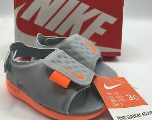Nike Sunray Adjust Size 3C Toddler Kids Orange Gray Sandals - NEW!