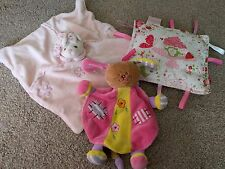 BUKOWSKI PINK BEAR AJENA DOG PUPPY RATTLE TAGGIES COMFORTER SNUGGLE BLANKET