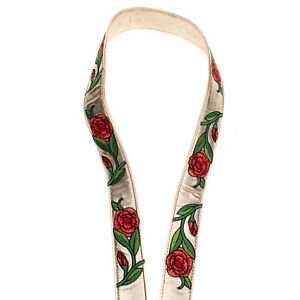 Long Shoulder Strap Metallic Effect Embroidered Flowers Clasps Closure