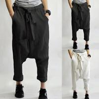 Mode Femme Pantalon Casual en vrac Taille elastique Couleur Unie Longue Plus