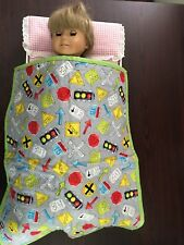 """Doll quilt. Great for a boy doll as well as girl doll. Reversible. 18"""" dolls."""